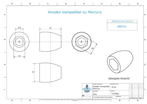 Anodes compatible to Mercury   Propeller-Anode 865182 (Zinc)   9719