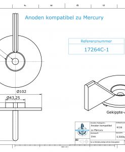 Anodes compatible to Mercury   Trim-Tab-Anode-AB 17264C1 (Zinc)   9720