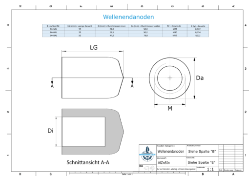 Flat Shaftend-Anode M52 (AlZn5In) | 9448AL