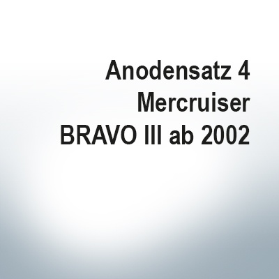 Sets of anodes   Mercruiser BRAVO III since 2003 (Zinc)   9701 9702 9719 9721