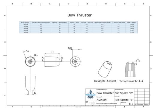 Bow Thruster BP-195 130-160 Kgf (AlZn5In) | 9623AL