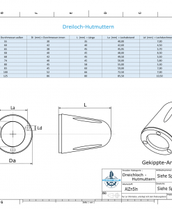 Three-Hole-Caps   suitable for Foldprop Engl. Ø68/H45 (AlZn5In)   9454AL