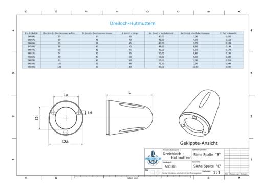 Three-Hole-Caps | Max Prop AN70 Ø74/H45 (AlZn5In) | 9607AL