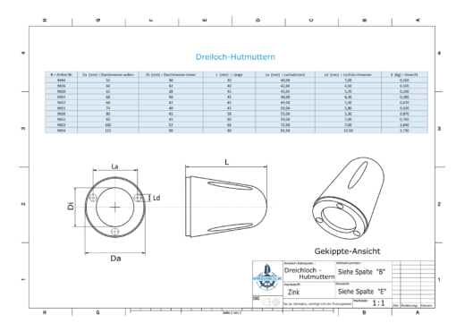 Three-Hole-Caps | Max Prop -63 Ø65/H45 (Zinc) | 9600