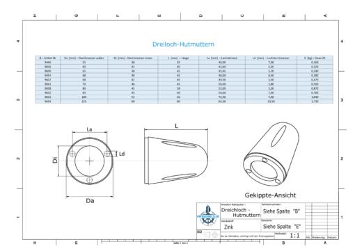 Three-Hole-Caps | Max Prop -70 Ø74/H45 (Zinc) | 9601
