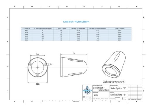 Three-Hole-Caps   Prowell Sailprop 160 Ø115/H95 (Zinc)   9411