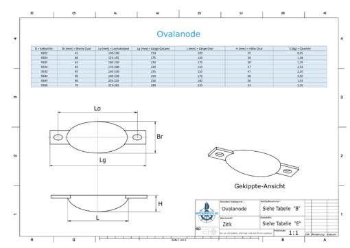 Block- and Ribbon-Anodes Oval L100/112,5 (Zinc) | 9302