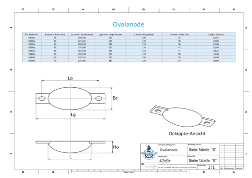 Block- and Ribbon-Anodes Oval L100/112,5 (AlZn5In) | 9302AL