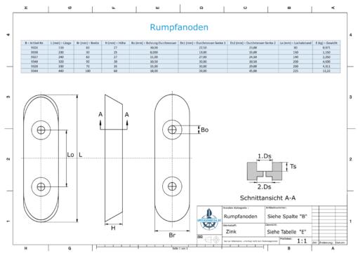 Block- and Ribbon-Anodes Block L230/150 (Zinc) | 9338