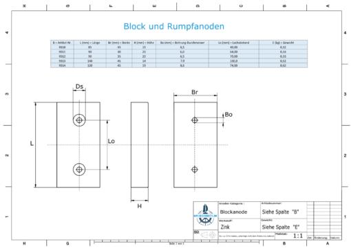 Block- and Ribbon-Anodes Block L140/100 (Zinc)   9313