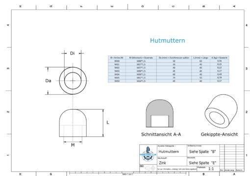 Nut-Caps M30x1,5 Ø50/H60 (Zinc) | 9400
