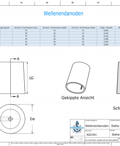 Shaftend-Anodes conical with retainer key 25 mm (AlZn5In) | 9437AL