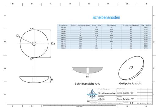 Disk-Anodes Ø228 mm (AlZn5In) | 9804AL