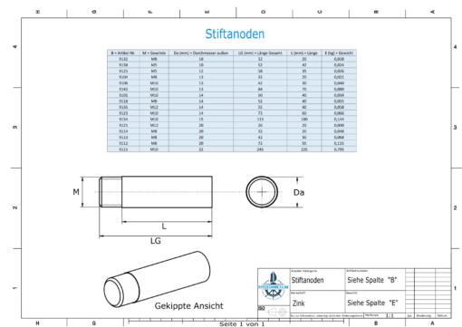 Bolt-Anodes M10 Stift Ø15/L100 (Zinc) | 9154
