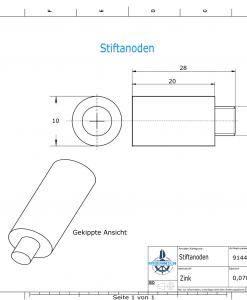 Bolt-Anodes 5 mm Stift Ø10/L20 (Zinc) | 9144