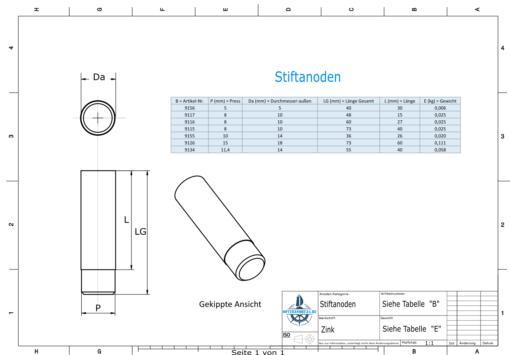 Bolt-Anodes 15mm Press Ø18/L70 (Zinc)   9126