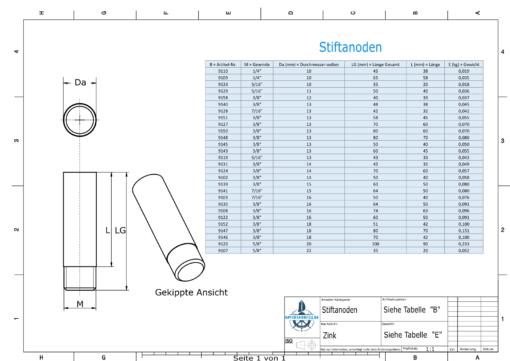 Bolt-Anodes 3/8'' inkl. Muffe Ø13/L70 (Zinc) | 9148