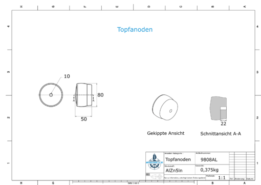 Cylinder-Anodes 80x50 Ø80 mm (AlZn5In)   9808AL