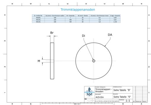 Trim-Tab-Anodes with M8 100x40 Ø100 mm (AlZn5In) | 9812AL