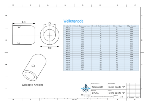 Shaft-Anode with metric inner diameter 55 mm (AlZn5In)   9008AL