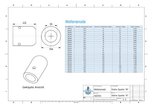Shaft-Anode with metric inner diameter 70 mm (AlZn5In) | 9011AL