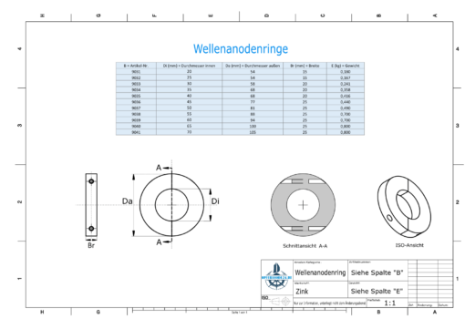 Shaft-Anode-Rings with metric inner diameter 30 mm (Zinc) | 9033