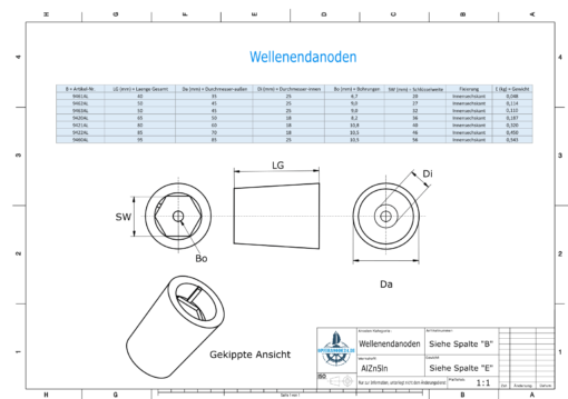 Shaftend-Anodes with hexagon socket SW20 (AlZn5In)   9461AL