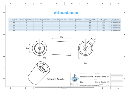 Shaftend-Anodes with hexagon socket SW32 (Zinc) | 9463