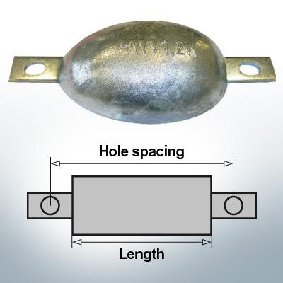 Anodes en bloc et de fuselage ovales L120/150 (Zinc) | 9304