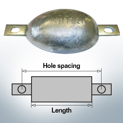 Anodes en bloc et de fuselage ovales L170/195 (AlZn5In) | 9305AL