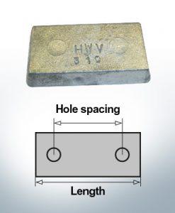 Bloc pour anodes en bloc et de fuselage L80/40 (Zinc) | 9310
