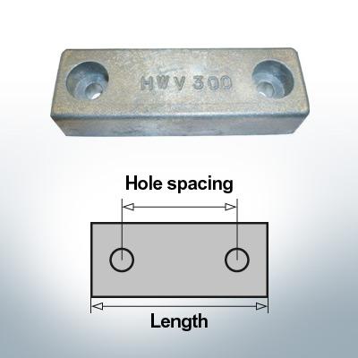 Bloc pour anodes en bloc et de fuselage L140/100 (Zinc) | 9313