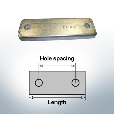 Bloc pour anodes en bloc et de fuselage L220/150 (Zinc)   9318
