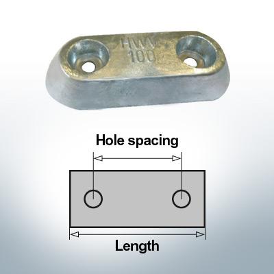 Bloc pour anodes en bloc et de fuselage L150/80 (Zinc) | 9326