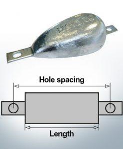 Anodes en bloc et de fuselage ovales L150/195 (Zinc) | 9334