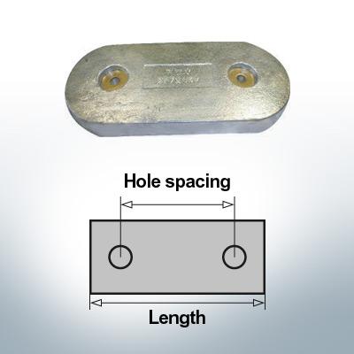 Bloc pour anodes en bloc et de fuselage L100/65 (Zinc)   9347