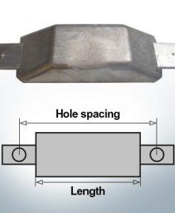 Anodes de bloc et de fuselage Anode plate L180/240 (AlZn5In) | 9342AL