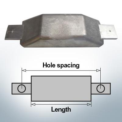 Anodes de bloc et de fuselage Anode plate L180/240 (Zinc) | 9342