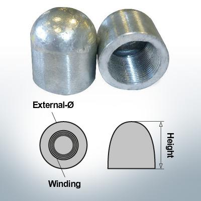 Écrous borgnes M27x1,5 Ø35/H40 (AlZn5In) | 9401AL