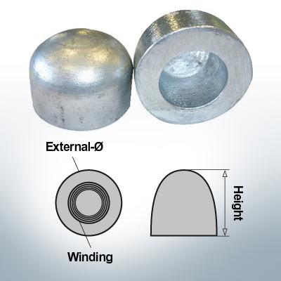 Écrous borgnes M52x1,5 Ø75/H50 (Zinc)   9405