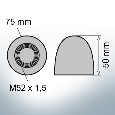 Nut-Caps M52x1,5 Ø75/H50 (Zinc)   9405