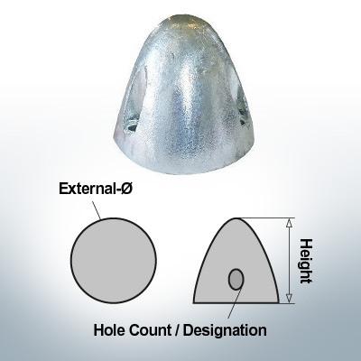 Écrous à trois trous | S.Prop 100 Ø60/H65 (Zinc) | 9407