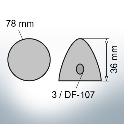 Three-Hole-Caps   suitable for DF-107 Ø78/H36 (AlZn5In)   9409AL
