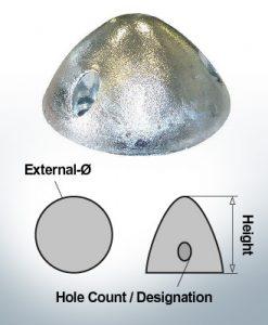 Écrous à trois trous | convient pour DF-128 Ø105/H55 (Zinc) | 9410