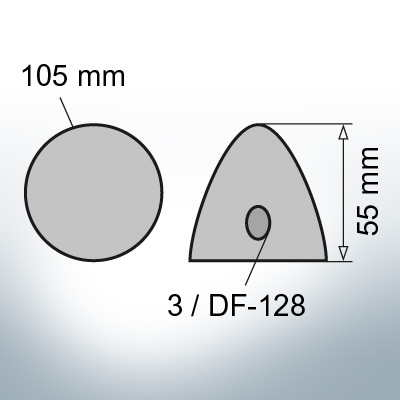 Three-Hole-Caps | suitable for DF-128 Ø105/H55 (AlZn5In) | 9410AL