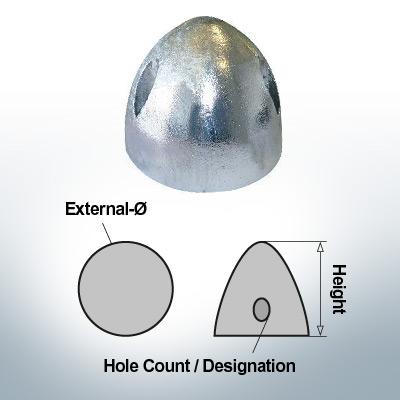 Écrous à trois trous | S.Prop 160 Ø115/H95 (AlZn5In) | 9411AL