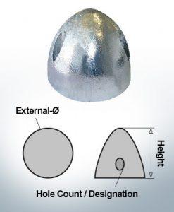 Écrous à trois trous | convient pour DF-112 Ø90/H53 (AlZn5In) | 9412AL