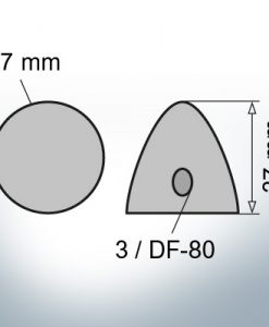 Three-Hole-Caps | suitable for DF-80 Ø67/H37 (AlZn5In) | 9414