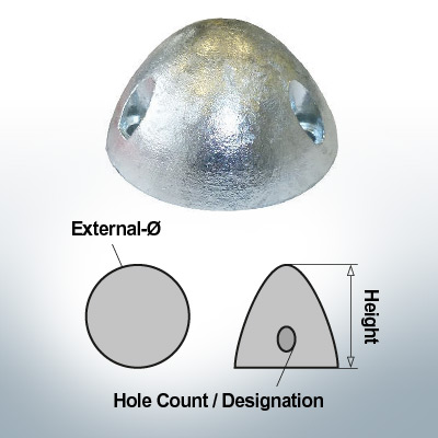Écrous à trois trous | convient pour DF-80 Ø67/H37 (Zinc) | 9414