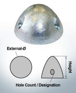 Écrous à trois trous | convient pour DF-80 Ø67/H37 (AlZn5In) | 9414